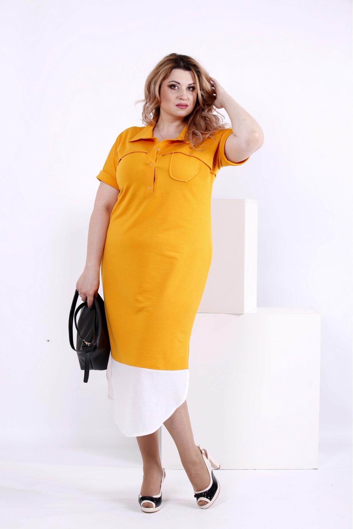 b38b3732c83316 Купити Жовта сукня з коміром | 0844-1 недорого ♥ Гаррі Шоп