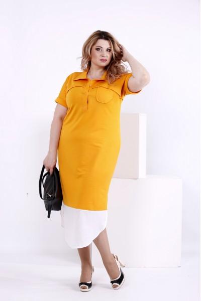 Фото Желтое платье с воротником | 0844-1