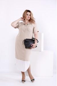 Фото Бежевое офисное платье   0844-2