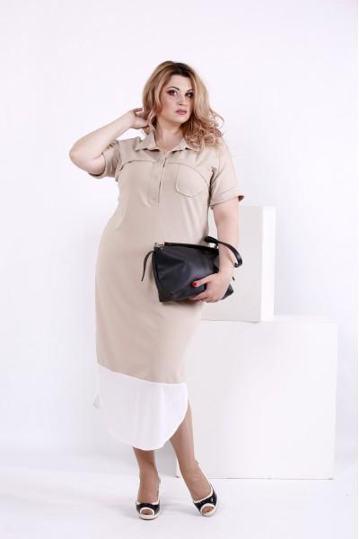 Фото Бежевое офисное платье | 0844-2