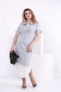 Фото Серое оригинальное платье | 0844-3