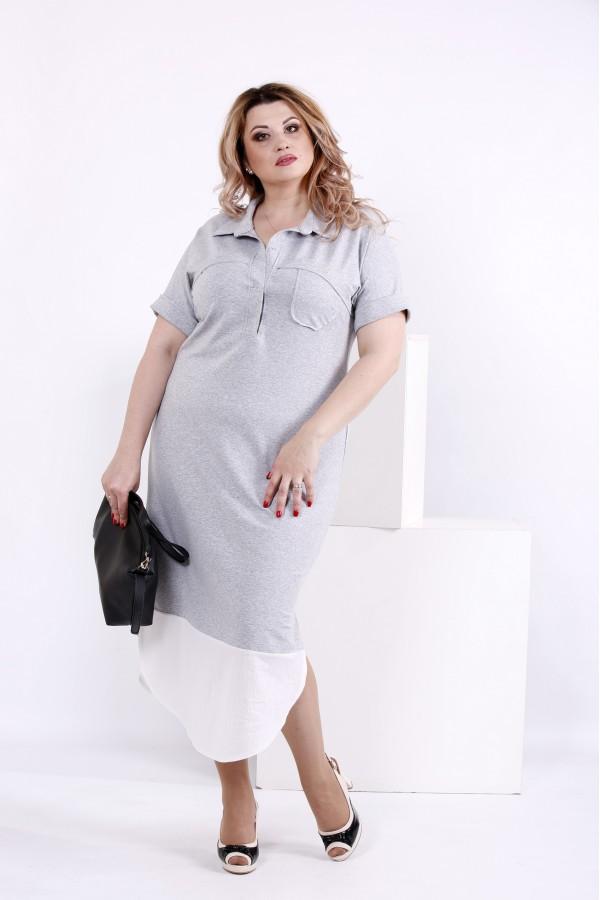 Фото Сіре оригінальне плаття | 0844-3