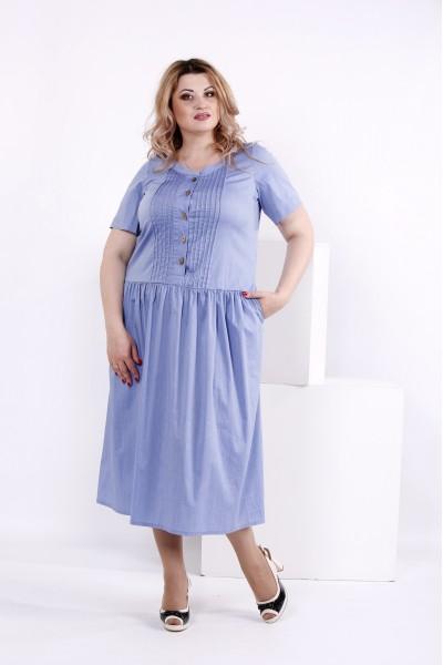 Фото Плаття нижче коліна кольору джинс | 0845-2