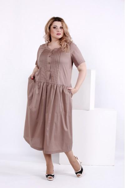 Фото Платье из хлопка мокко | 0845-3