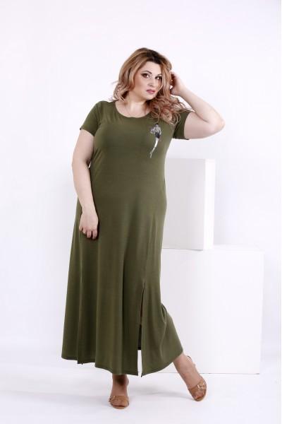 Фото Плаття до підлоги з віскози кольору хакі | 0850-2