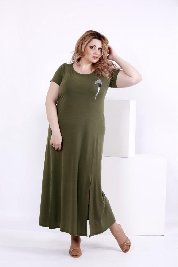 Фото Платье в пол из вискозы цвета хаки | 0850-2