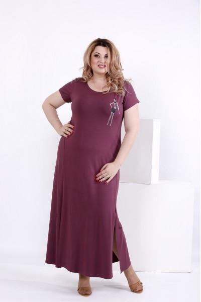 Фото Сливовое простое длинное платье | 0850-3