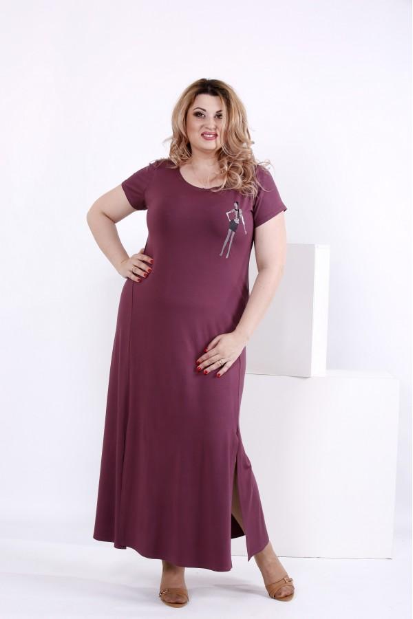 Фото Сливова проста довга сукня | 0850-3