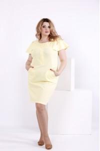 Льняное лимонное платье | 0852-1