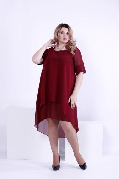 Фото Бордове плаття з шифоном | 0860-2