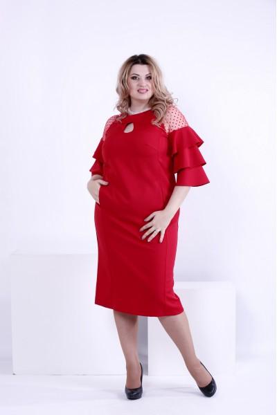 Фото Ярко-красное нарядное платье | 0861-2