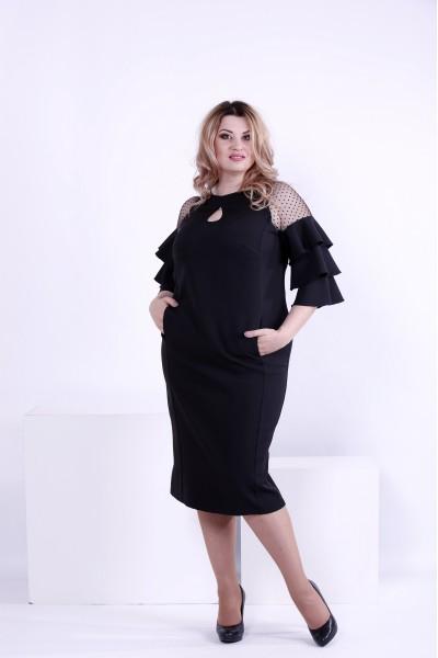 Фото Черное платье ниже колена | 0861-3
