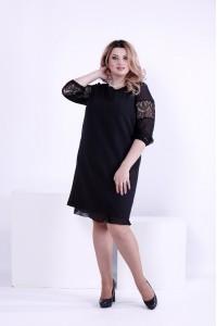 Фото Чорне пряме плаття по коліно | 0862-1