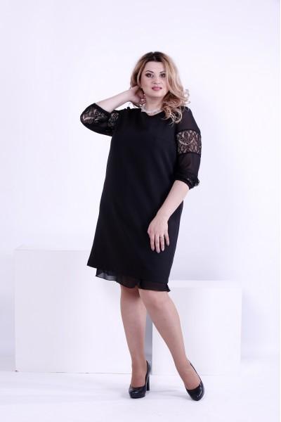 Фото Черное прямое платье по колено | 0862-1