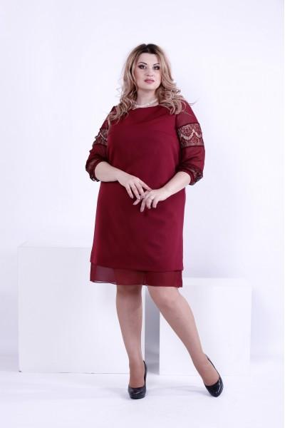 Фото Бордовое платье из костюмки | 0862-3
