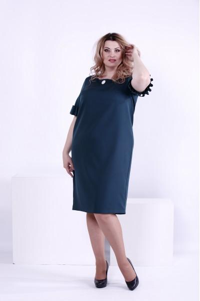 Фото Темно-зеленое элегантное платье | 0863-1