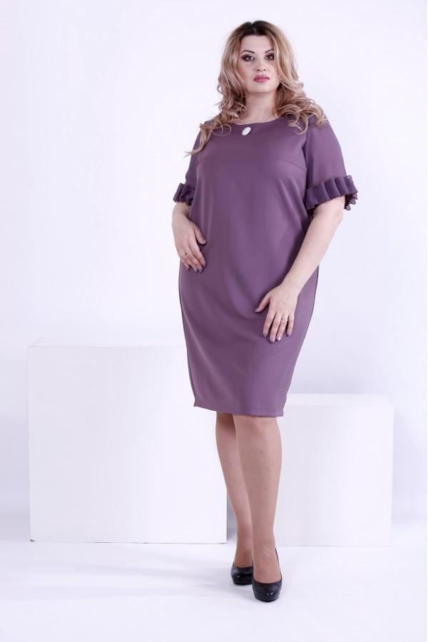 Фото Бисквитное свободное платье до колена | 0863-2