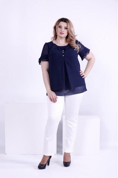 Фото Синя блузка з тонкого шифону | 0866-1