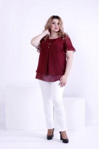 Фото Бордовая легкая блузка из шифона   0866-3