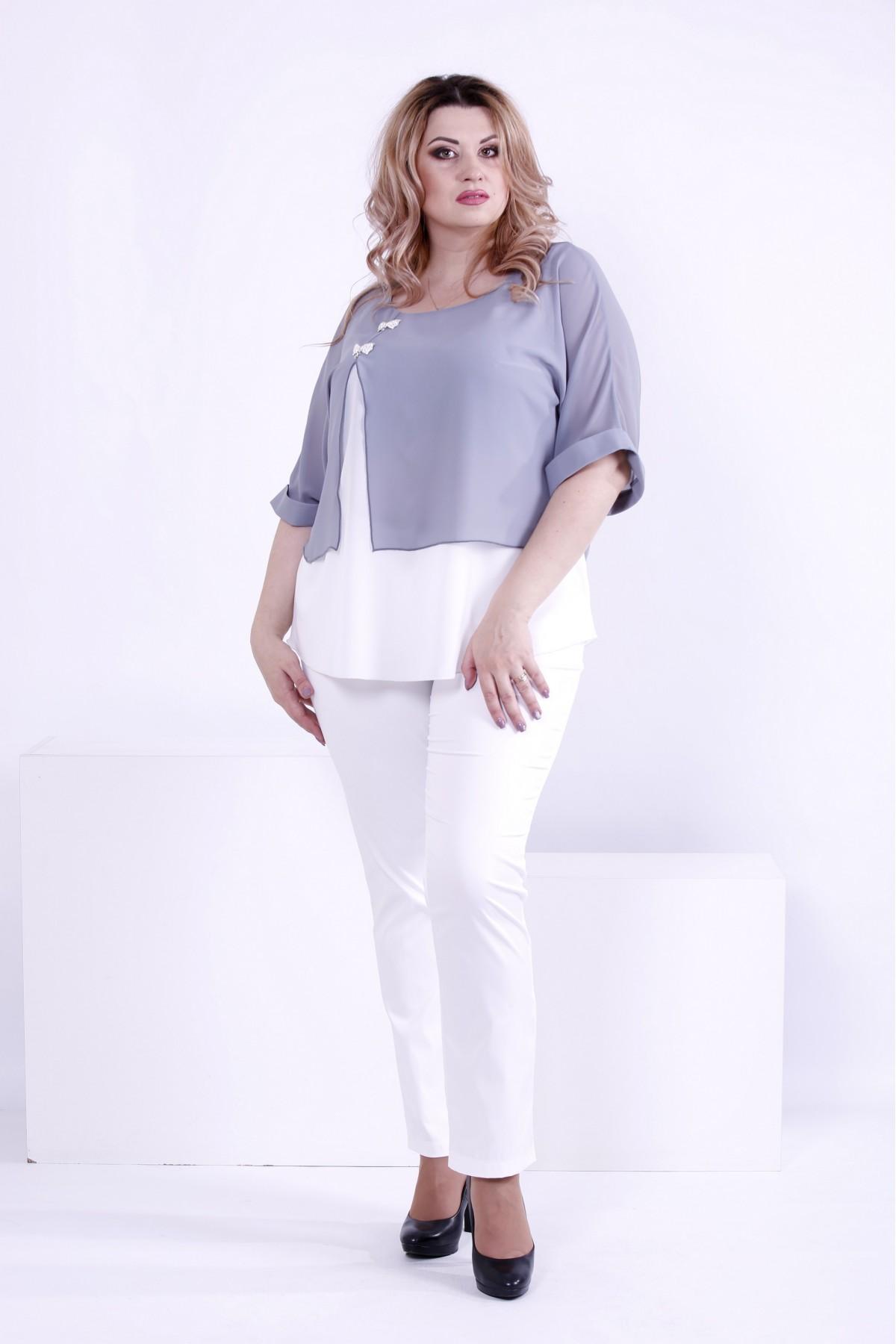 847a8714bf7 Купить Серая блузка из креп-шифона