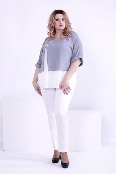 Фото Сіра блузка з креп-шифону | 0870-1