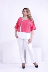 Фото Коралловая с белым блузка из креп-шифона   0870-2