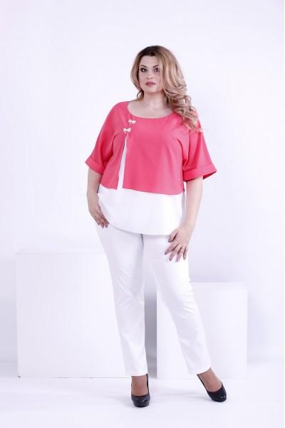 Фото Коралова з білим блузка з креп-шифону | 0870-2