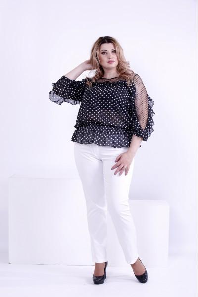 Фото Черная блузка в белый горох | 0872-1