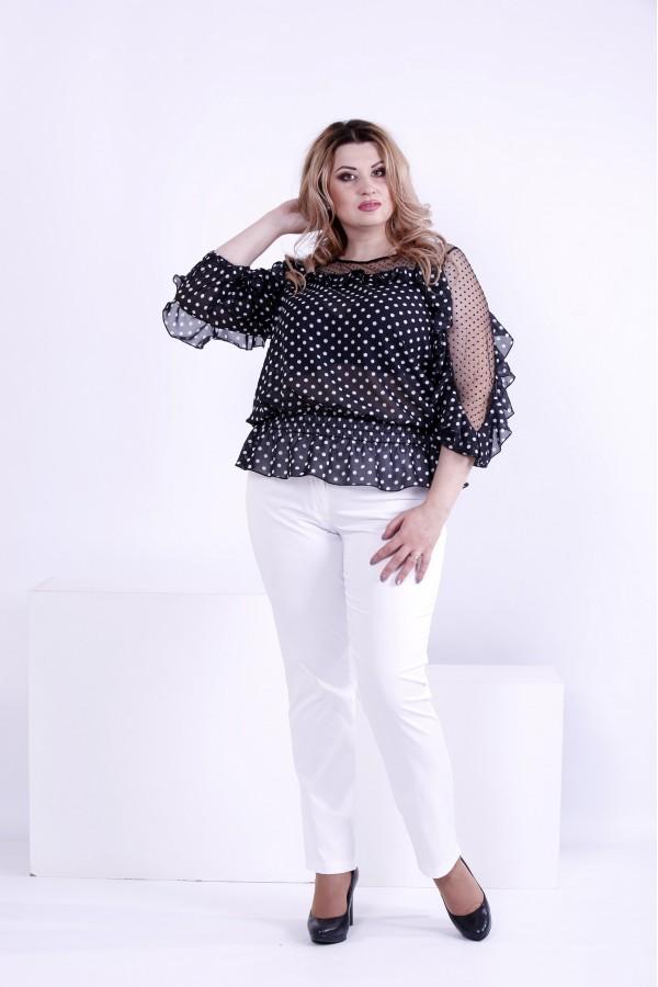 Фото Чорна блузка в білий горох | 0872-1