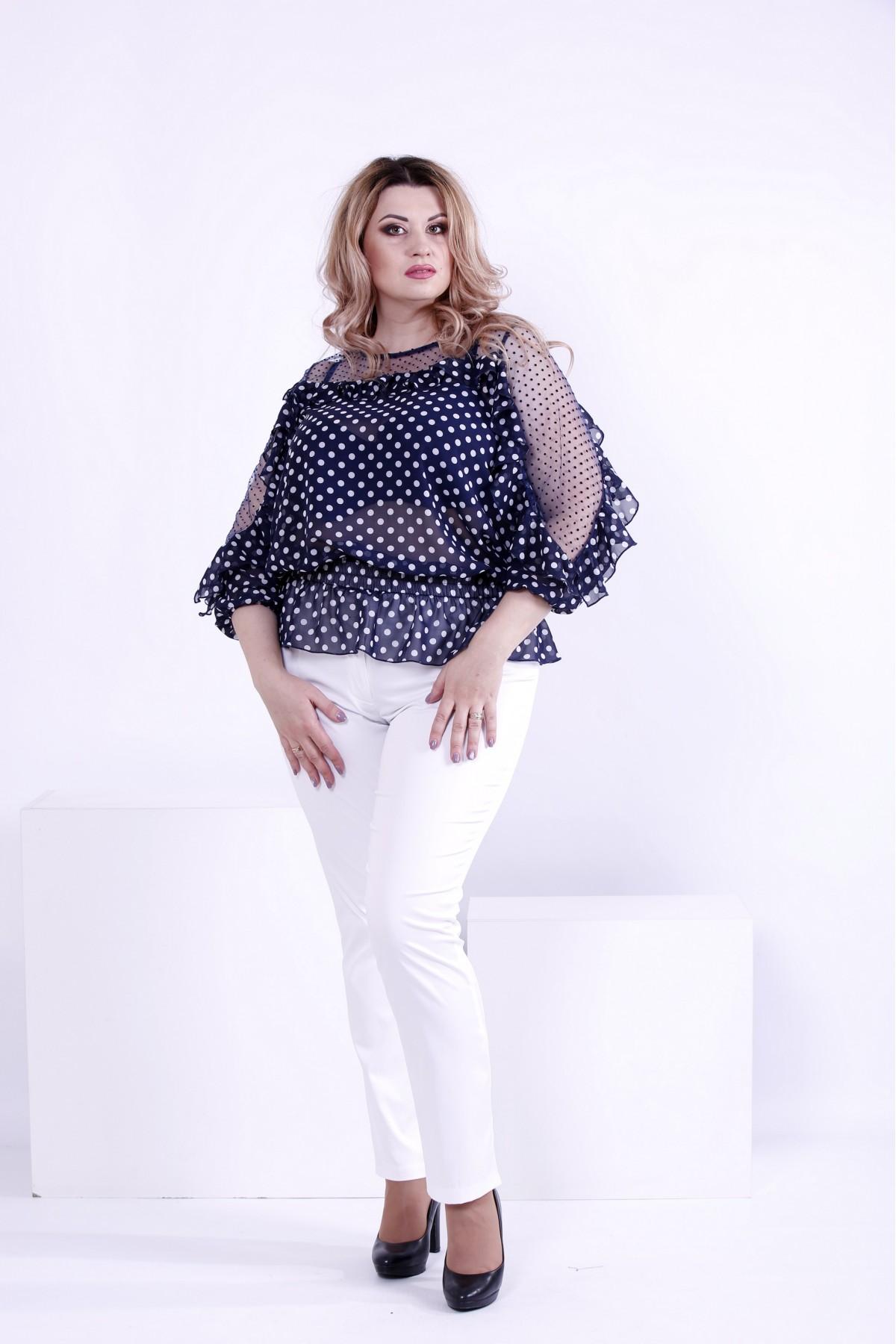 69a03bd2f15 Купить Синяя блузка в горох с сеткой