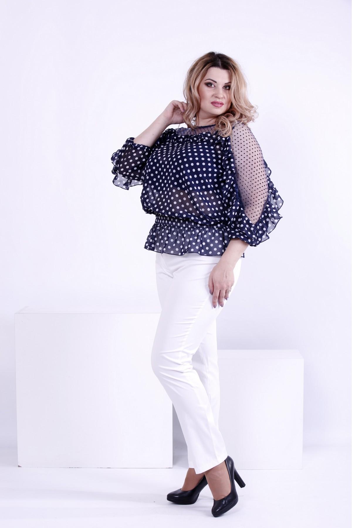 bb1f6f15dd4 ... Фото Синяя блузка в горох с сеткой