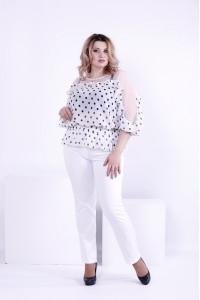 Фото Белая блузка горох с сеткой | 0872-3