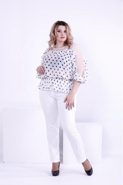 Фото Біла блузка горох з сіткою | 0872-3