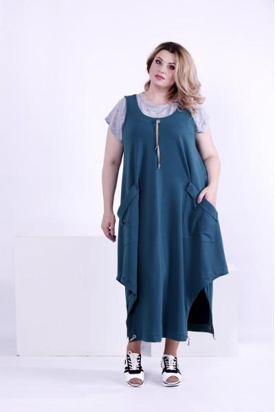 Фото Зеленое длинное платье с карманами (футболка отдельно) | 0879-1