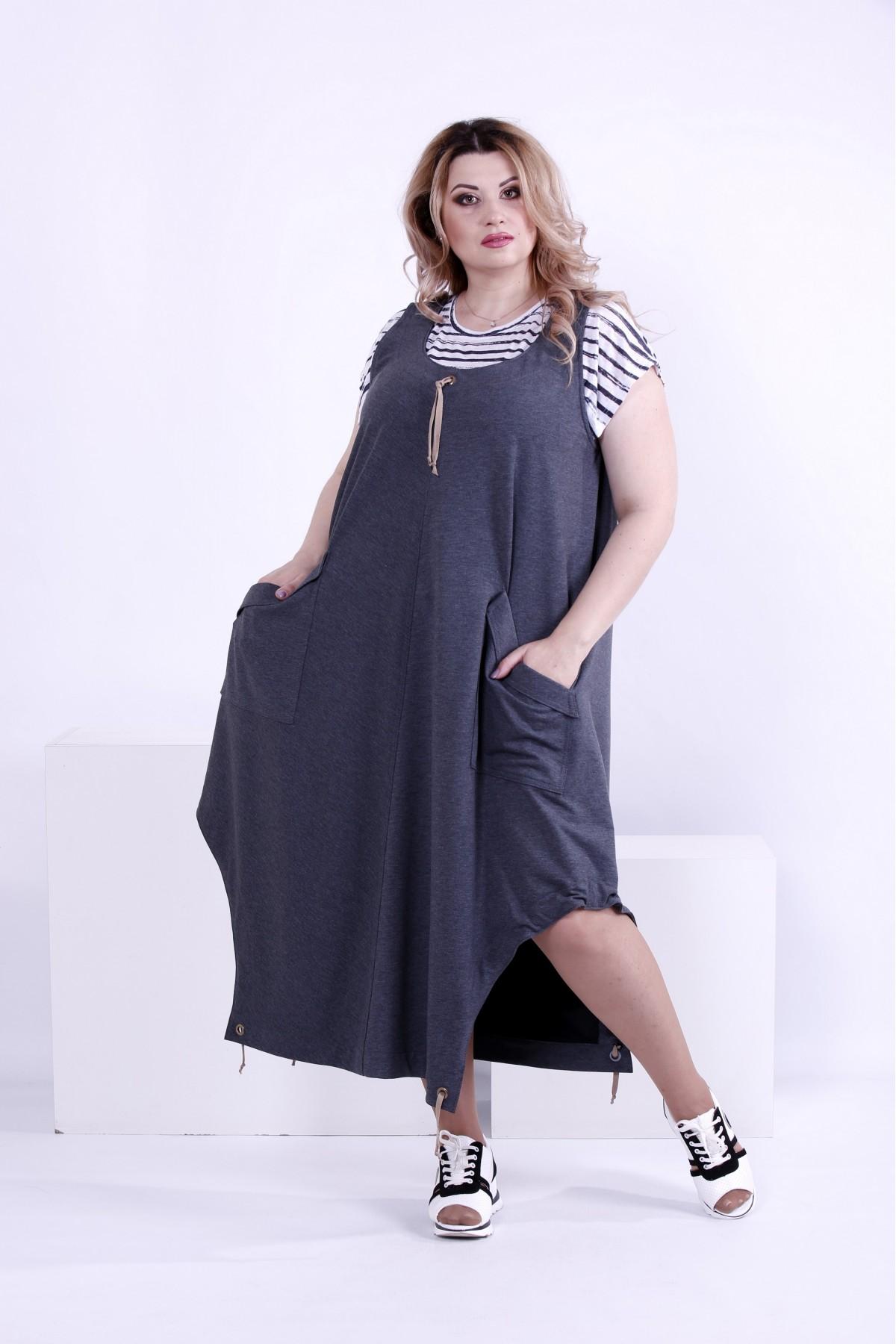 Купити Темно-сіре вільне плаття-туніка (футболка окремо)  c18b0628cbf73