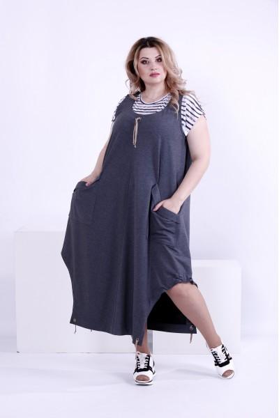 Фото Темно-сіре вільне плаття-туніка (футболка окремо) | 0879-2
