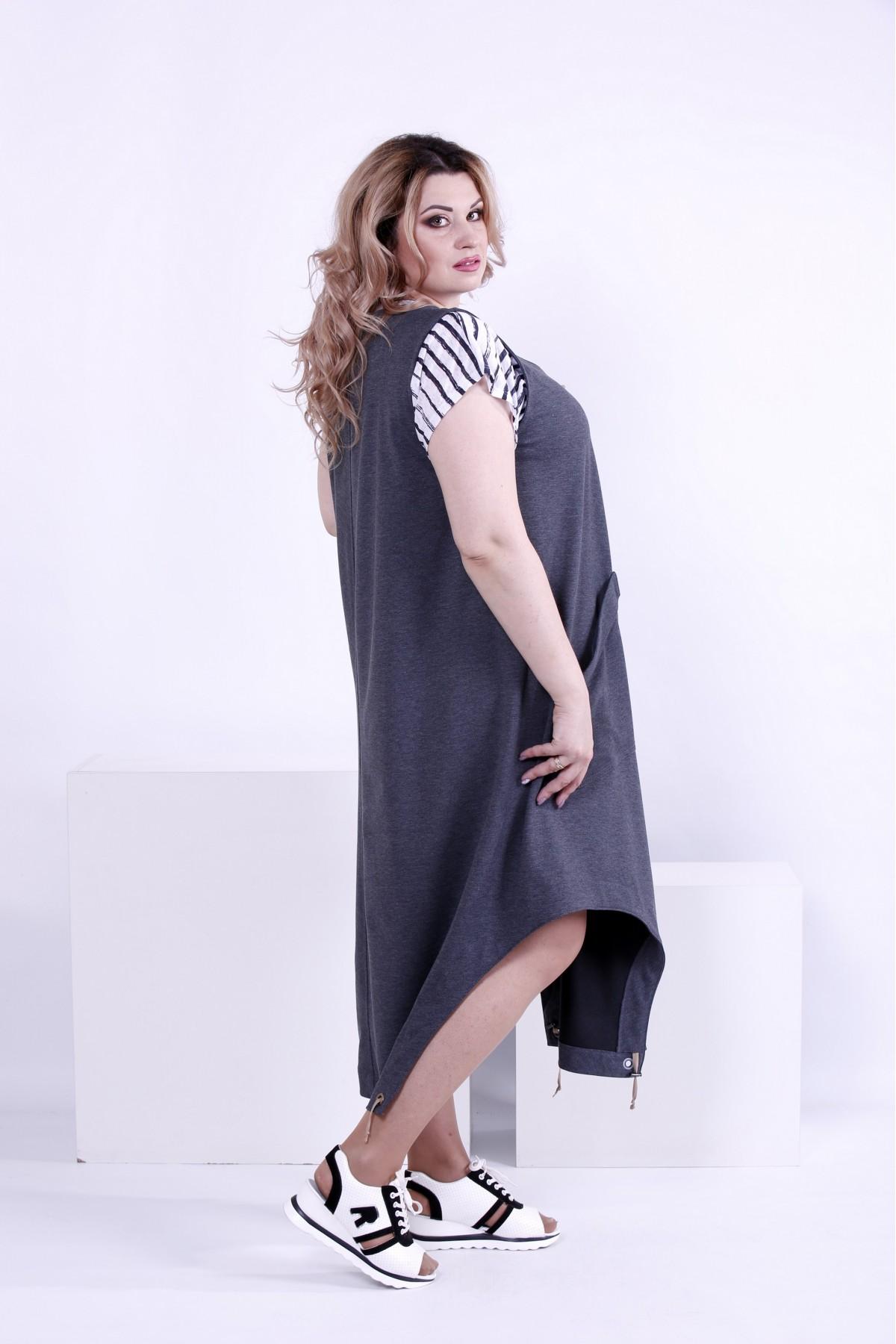 ... Фото Темно-сіре вільне плаття-туніка (футболка окремо)  d511a441271c3