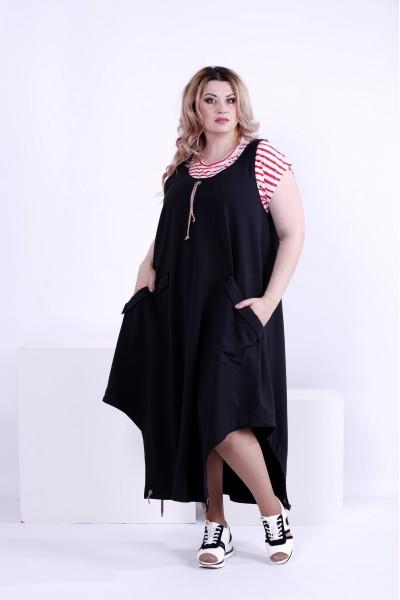 Фото Черное свободное платье (футболка отдельно) | 0879-3