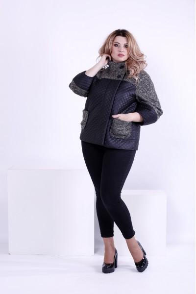Фото Демісезонна чорна курточка з плащової тканини | t0875-1
