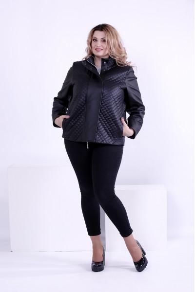 Фото Чорна стильна куртка зі вставками з еко-шкіри | t0877-1