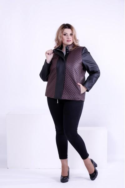 Короткая куртка из плащевки с эко-кожей | t0877-3