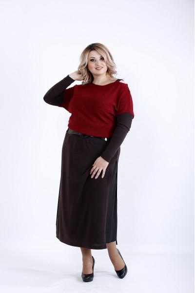 Фото Платье черное с бордовым | 0886-4