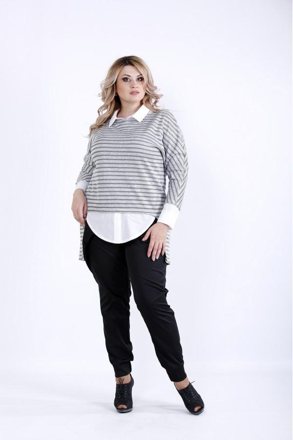 Фото  Сіра блузка з рукавами і коміром | 0888-1