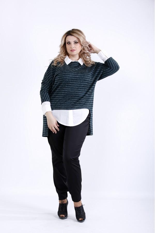 Фото  Зелена блузка в смужку з коміром | 0888-2