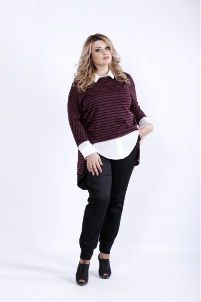 Фото  Бордова блузка з ангори | 0888-3