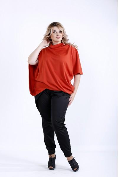 Фото Оранжевая свободная блузка | 0889-1