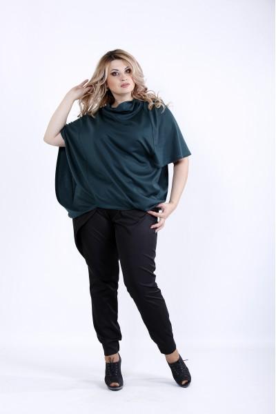 Фото  Вільна Злена блузка з трикотажу | 0889-2