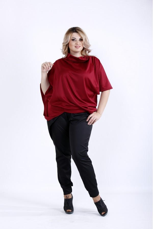 Фото Элегантня бордовая блузка свободного кроя | 0889-3