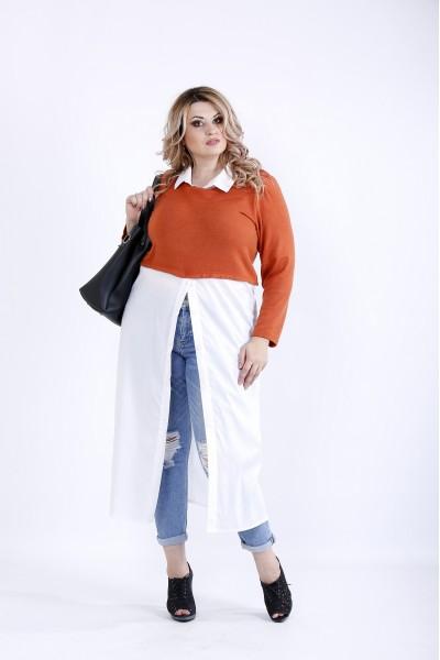 Фото  Теракотово-біла блузка | 0891-3