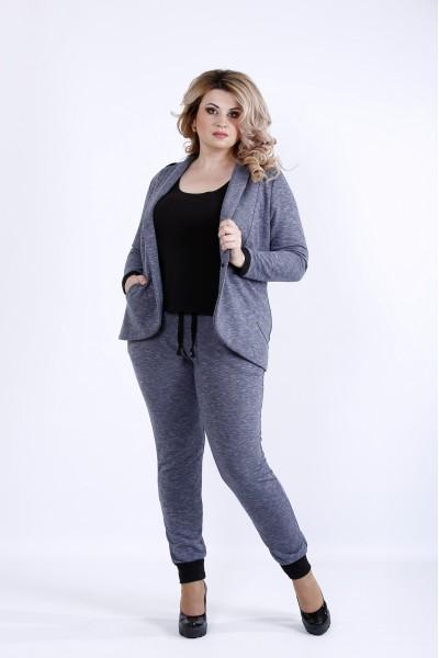 Фото  Синій костюм двійка (брюки і жакет) | 0893-2